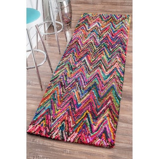 nuLOOM Casual Handmade Chevron Cotton Multi Runner Rug (2'6 x 10')