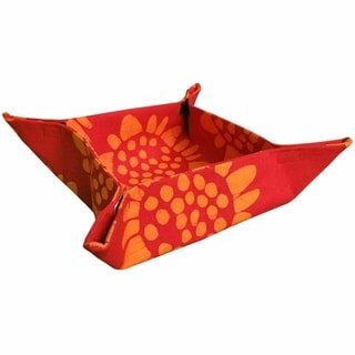 Global Mamas Hand Batiked Basket - Red Sunflower (Ghana)