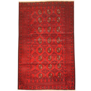 Herat Oriental Afghan Hand-knotted 1980s Semi-antique Tribal Balouchi Red/ Navy Wool Rug (3' x 4'7)