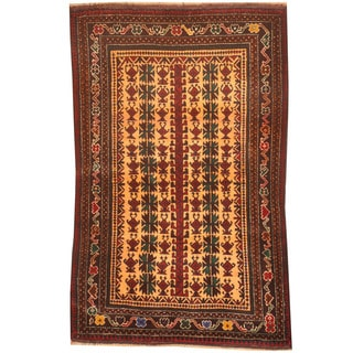 Herat Oriental Afghan Hand-knotted 1980s Semi-antique Tribal Balouchi Peach/ Brown Wool Rug (2'9 x 4'5)
