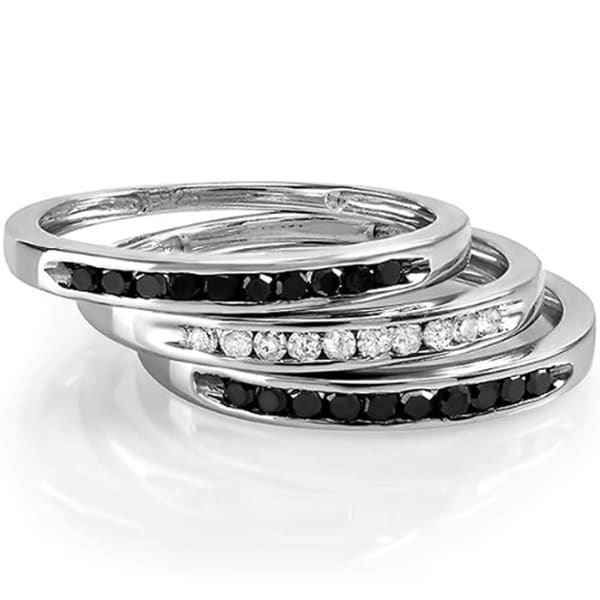 Sterling Silver 1 2ct TDW Black And White Diamond Wedding Band I J