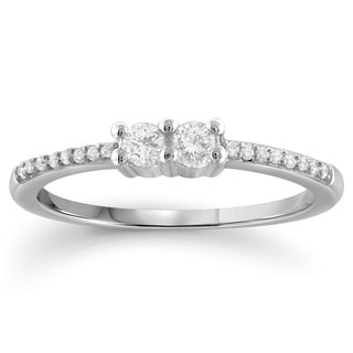 I Love Us 14k White Gold or Yellow Gold 1/4ct TDW Diamond Two-stone 'My Best friend is My true love' Ring (I-J, I2-I3)