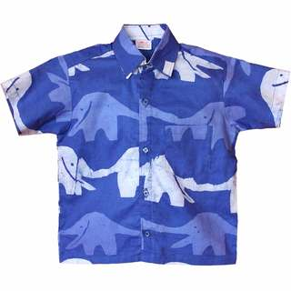 Global Mamas Hand Batiked Boys Button Down Shirt - Blueberry Elephants - (Ghana)