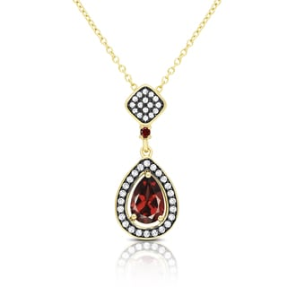 Samantha Stone Gold Over Sterling Silver Simulated Garnet and Cubic Zirconia Teardrop Necklace