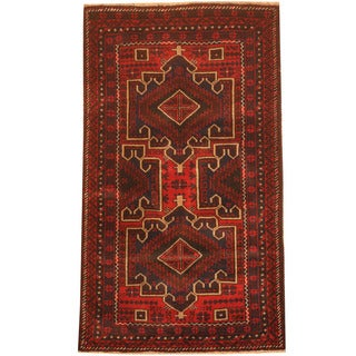 Herat Oriental Afghan Hand-knotted 1980s Semi-antique Tribal Balouchi Red/ Blue Wool Rug (2'8 x 4'9)