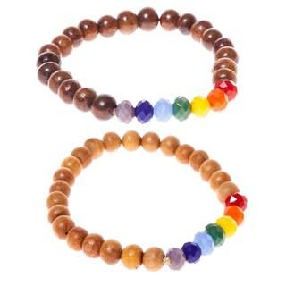 Seven Chakras Wooden Bead Mala Bracelet (Nepal)