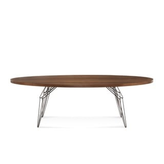 Saloom LEM 46 x 92-inch Ellipse Black Walnut Dining Table with Natural Steel Finish