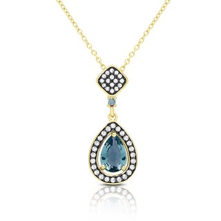 Samantha Stone Gold Over Sterling Silver Simulated London Blue Topaz and Cubic Zirconia Teardrop Necklace