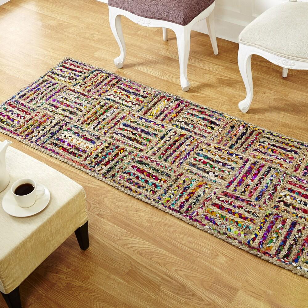 Indian Jute Rug 2x6-7 Hemp jute Rug Hand Woven Area Rugs Floor bed side Runner
