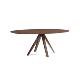 Saloom Nova 36 x 70 Ellipse Maple Smooth Top Dining Table in Walnut Finish