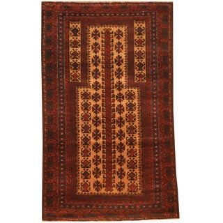 Herat Oriental Afghan Hand-knotted 1970s Semi-antique Tribal Balouchi Beige/ Red Wool Rug (2'8 x 4'6)
