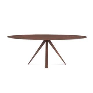 Saloom Nova 36 x 70 Ellipse Maple Strata Texture Top Dining Table in Walnut Finish