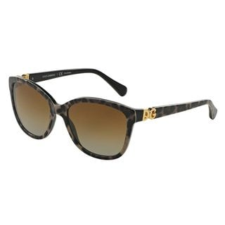 Dolce & Gabbana Women's DG4258 Black Plastic Square Polarized Sunglasses