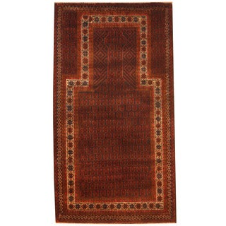 Herat Oriental Afghan Hand-knotted 1970s Semi-antique Tribal Balouchi Navy/ Red Wool Rug (2'9 x 5')
