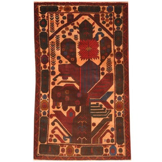 Herat Oriental Afghan Hand-knotted 1970s Semi-antique Tribal Balouchi Peach/ Red Wool Rug (2'10 x 4'8)