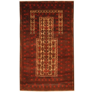 Herat Oriental Afghan Hand-knotted 1970s Semi-antique Tribal Balouchi Beige/ Red Wool Rug (2'10 x 4'10)