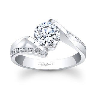 Barkev's Designer 14k White Gold Round-cut Diamond Engagement Ring