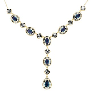 Samantha Stone Gold Over Sterling Silver Simulated London Blue Topaz and Cubic Zirconia 'Y' Necklace