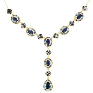 Samantha Stone Gold Over Sterling Silver Simulated London Blue Topaz and Cubic Zirconia 'Y' Necklace - Gold/Silver/Blue Topaz
