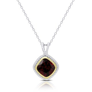 Dolce Giavonna Sterling Silver Cushion-Cut Garnet Necklace
