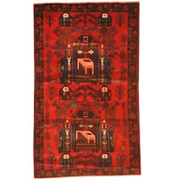 Herat Oriental Afghan Hand-knotted 1970s Semi-antique Tribal Balouchi Wool Rug (2'10 x 4'10) - 2'10 x 4'10