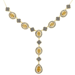 Samantha Stone Gold Over Sterling Silver Simulated Citrine and Cubic Zirconia 'Y' Necklace