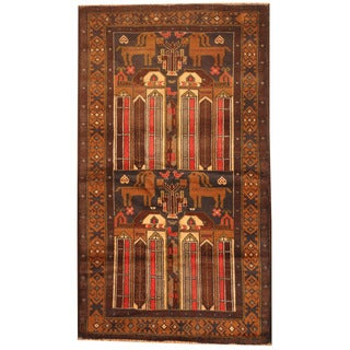 Herat Oriental Afghan Hand-knotted 1970s Semi-antique Tribal Balouchi Red/ Tan Wool Rug (2'9 x 4'10)