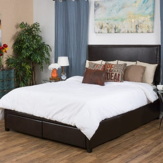 Christopher Knight Home Hilton Bonded Leather Full Bed Set with Drawers