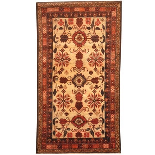 Herat Oriental Afghan Hand-knotted 1960s Semi-antique Tribal Balouchi Ivory/ Rust Wool Rug (2'9 x 5')