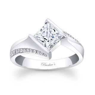 Barkev's Designer 14k White Gold Princess-cut Diamond Engagement Ring
