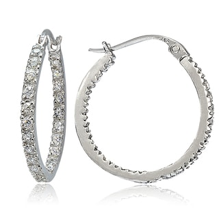 ICZ Stonez Silver Inside-Out Cubic Zirconia 20mm Round Hoop Earrings