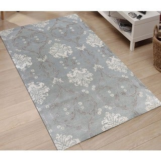 Hand-tufted Saint Thomas White Ice Blended New Zealand Wool and Art Silk Rug (5' x 8')