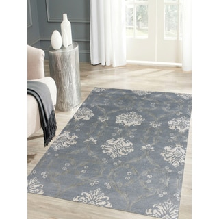 Hand-tufted Saint Thomas Water Blue Blended New Zealand Wool and Art Silk Rug (7'6 x 9'6)