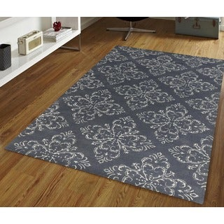 Hand-tufted Saint Thomas Grey Stone Blended New Zealand Wool and Art Silk Rug (8' x 11')
