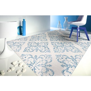 Hand-tufted Saint Thomas Ocean Blue Blended New Zealand Wool and Art Silk Rug (7'6 x 9'6)