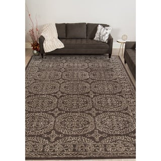 Hand-tufted Saint Thomas Charcoal Blended New Zealand Wool and Art Silk Rug (5' x 8')