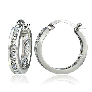 Link to ICZ Stonez Inside-Out Cubic Zirconia 3mm Round Hoop Earrings, 18mm Similar Items in Earrings