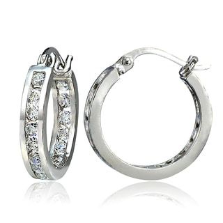 ICZ Stonez Inside-Out Cubic Zirconia 3mm Round Hoop Earrings, 18mm