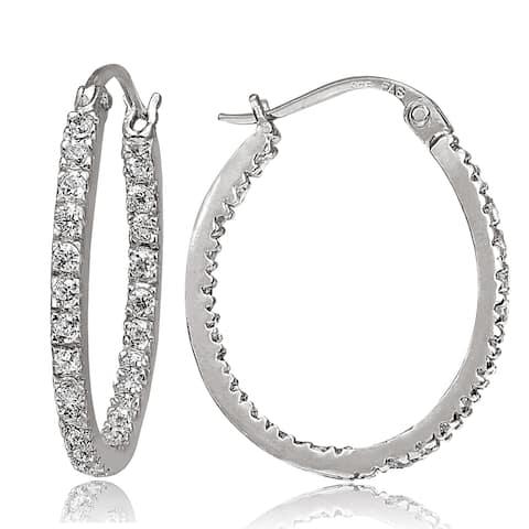 ICZ Stonez Silver Inside-out Cubic Zirconia 2mm x 22mm Oval Hoop Earrings