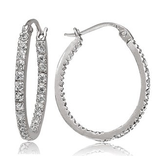 ICZ Stonez Silver Inside-out Cubic Zirconia 2mm x 22mm Oval Hoop Earrings