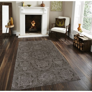 Hand Woven Wool And Art Silk Grey Rug 5 X 8 14095213