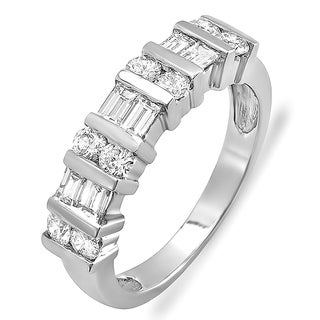 14k White Gold 1ct TDW Round and Baguette Diamond Anniversary Wedding Ring Band (H-I, I1-I2)