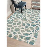 "Hand-tufted Constantine Marine White New Zealand Wool Rug - 7'6"" x 9'6"""