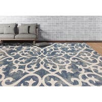 """Hand-tufted Constantine Blue White New Zealand Wool Rug - 7'6"""" x 9'6"""""""