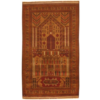 Herat Oriental Afghan Hand-knotted 1960s Semi-antique Tribal Balouchi Tan/ Ivory Wool Rug (2'10 x 4'10)