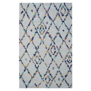 Hand-tufted Moroccan Shag Diamond Trellis Multicolored Polyacrylic Rug (5' x 8')