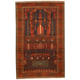 Herat Oriental Afghan Hand-knotted 1960s Semi-antique Tribal Balouchi Navy/ Rust Wool Rug (2'7 x 4')