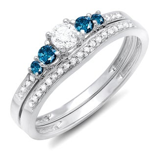14k White Gold 1/2ct TDW Blue and White Diamond 5-stone Bridal Band Set (H-I, I1-I2)