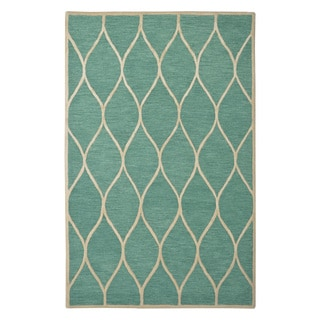 Hand-tufted Moroccan Trellis Lattice Emerald Green Wool Rug (5' x 8')