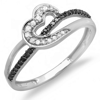 Elora 10k White Gold 1/5ct TDW Black and White Diamond Promise Heart Love Engagement Ring (I-J, I2-I3)